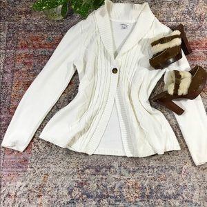 croft & barrow Sweaters - Croft & Borrow White  Cardigan (L)